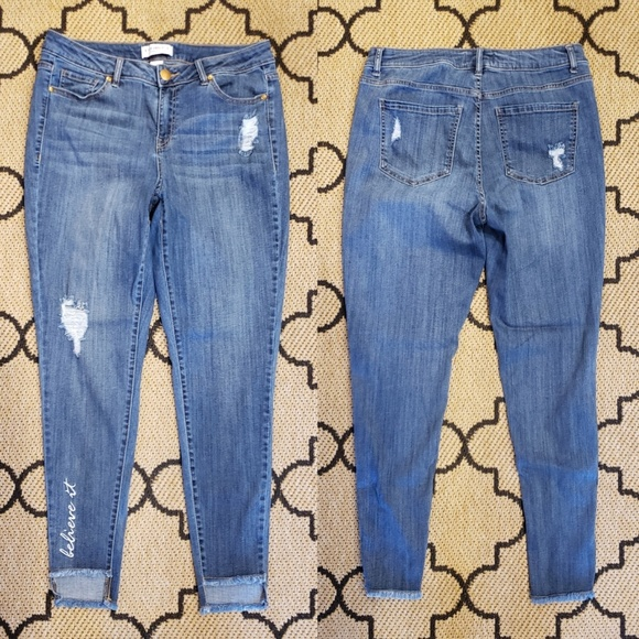 LANE BRYANT ~ NWT 18 or 28 ~ GRADIENT SPARKLE HEM Super Stretch Skinny Jeans